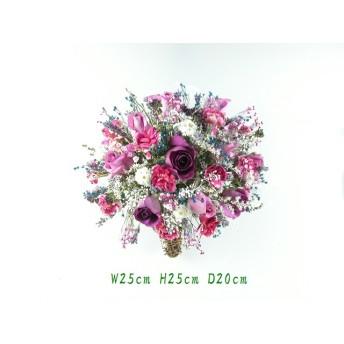 ミニホーンにパープル系の盛花