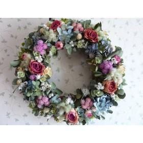 紫陽花とピンク薔薇の秋色リース