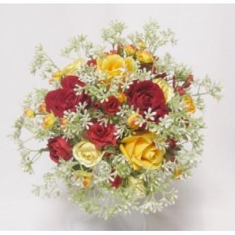 ベビーフラワーいっぱいラウンドブーケ。セール中。高品質な造花使用。ウェディングやインテリアに