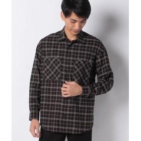 (COMME CA ISM/コムサイズム)オーバーサイズ ロングシャツ/メンズ ダークブラウン