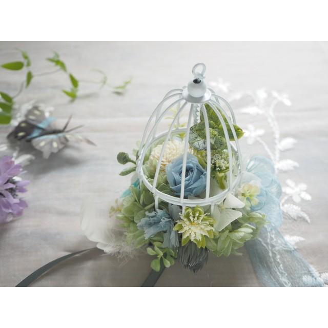 受注制作 Birdcarge <Botanical Ciel> * 鳥かご ボタニカルアレンジメント プリザーブドフラワー 花