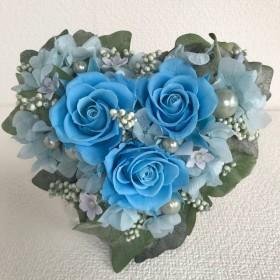 プリザーブドフラワー*ハートの花束*ブルーの薔薇*Welcome