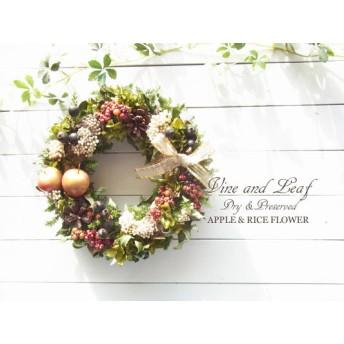 赤いりんごとベリーのクリスマスリース[W-16119] ~Vine and Leaf の Christmas
