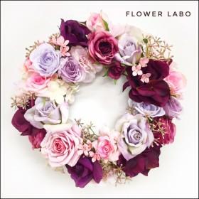 【Fall in Love】誕生日などのお祝い、プレゼントに パープルのローズリース 約27-30cm