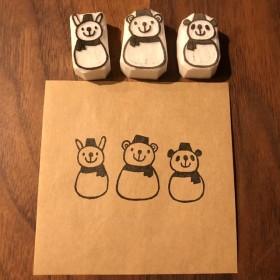 動物雪だるま うさぎくまパンダ