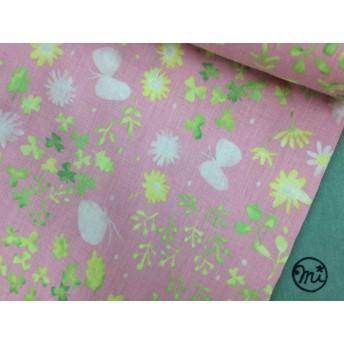 55×50★リネン★花と蝶★タンブラー加工★ピンク