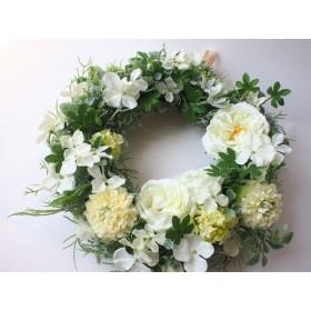 爽やかグリーンとオールドローズのリース インテリア アーティフィシャルフラワー 造花 ギフト グリーン 白 ナチュラル