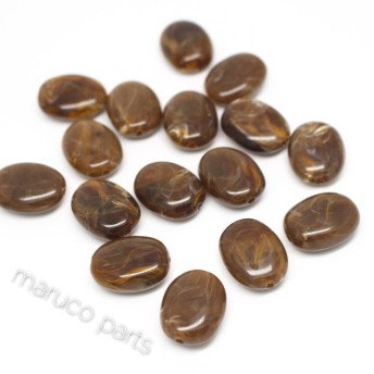マーブル天然石調*オバール*20個*両穴*楕円*べっこう調*ブラウン *beads-048