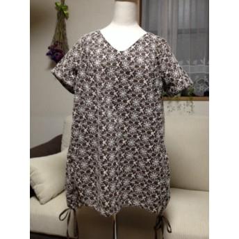 綿刺繍レース☆ブラウンバルーンチュニック