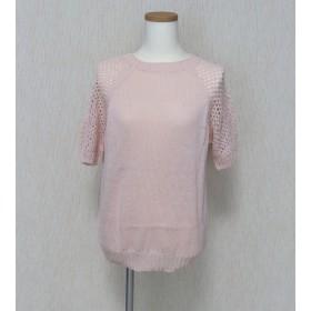 レース袖の柔らかサマーセーター ーー ピンク