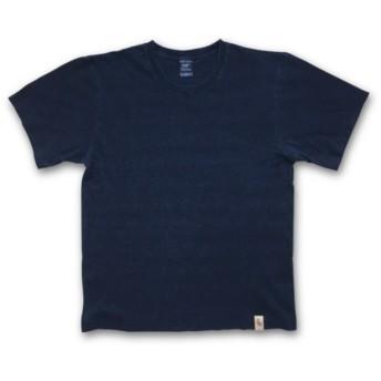 インディゴ染め ウォバッシュ ストライプ プリント Tシャツ:TS-529