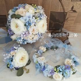 オーダー ウェディングブーケセット(ラウンド)&花冠一例*ブルー(水色)・ホワイト(白) ご検討の方はご購入前に必ずメッセージをお願いいたします♪