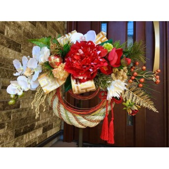 No. wreath-14940/★お正月しめ縄リース(しめ飾り、正月飾り)33x48cm・アートフラワー造花リース★/ピオニー&胡蝶蘭