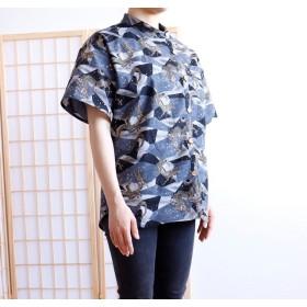 和柄 スタンドカラーシャツ【龍 グレー】