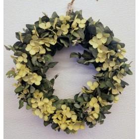 紫陽花とユーカリだけのグリーンドライフラワーリース