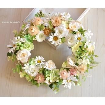 白いバラとマーガレット コットンリボンをそえて:wreath