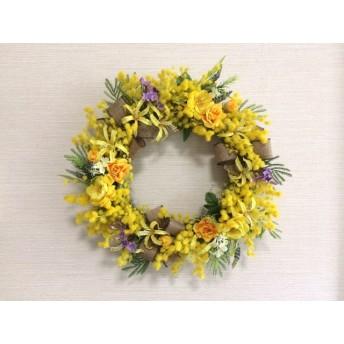 No. wreath-14544/★ギフト/花/玄関リース★/アートフラワー/ミモザと野バラの春リース/40cm