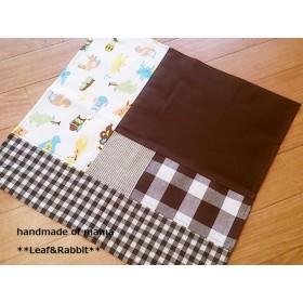 40×42cm☆1点物♪【ランチナフキン】 brownパッチ風動物達の音楽隊
