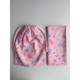 ゆめかわ ぬいぐるみとスイーツ ピンク ランチクロスと巾着袋のセット☆入園入学☆