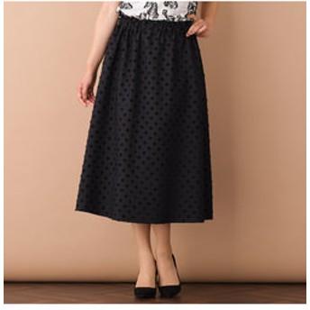 【Junior online shop:スカート】ドットジャカード・ウエストギャザーフレアスカート