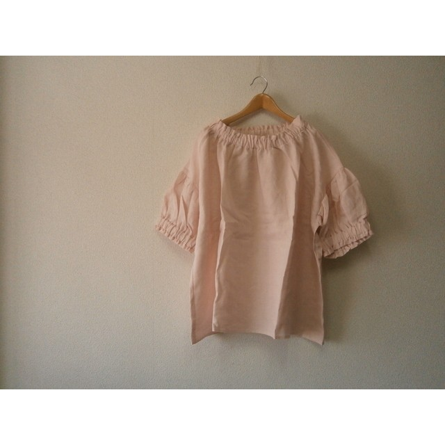 ★en-enフランスリネン・ふんわりギャザープルオーバー五分丈・薄いピンク