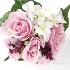 アレンジいろいろ バラと紫陽花のブーケ・花束 フラワーアレンジ制作キット。アーティフィシャルフラワー