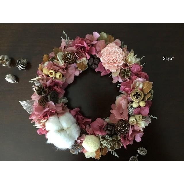 Antique pink  Autumn wreath ギフト リース