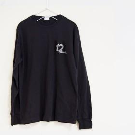 12インチレコードをイメージしたロゴTシャツ ロンT ※送料無料※ 【ヴィンテージブラック】 長袖クルーネックTシャツ