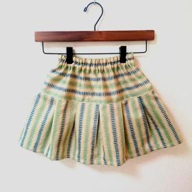 【120】子供スカート(クリーム系クラシックボーダー柄)