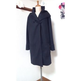 圧縮ウール ブラック 変形フード付きコート ️有難うございました