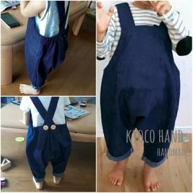 0~3歳まで着られる デニムカラーが選べる やわらか上質デニムのベビーサロペット[インディゴデニム]