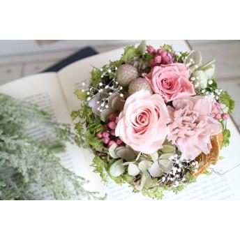 [母の日gift] アンティークピンクのふわふわアレンジメント