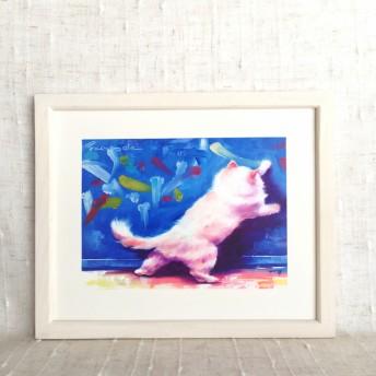 手描き油絵フレーム付き -落書き猫-