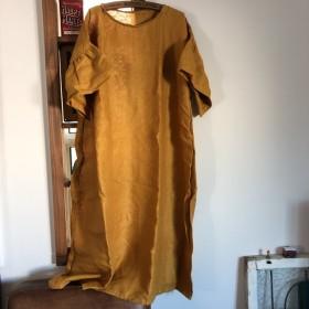 黄色リネン100 ハンドメイドワンピ 着丈約115
