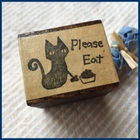 ネコのひとこと*「食べて」のはんこ ゴム版はんこ