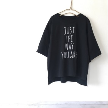 ワイドシルエット レディースTシャツ (ブラック) レディース ロゴtシャツ 春 夏
