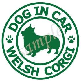 犬 コーギー_白緑 防水 ステッカー 車用_CORGI sticker