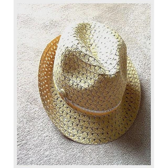 男女兼用◆Wライン☆スターモチーフのナチュラルベージュ後ろ折れ ハット 帽子