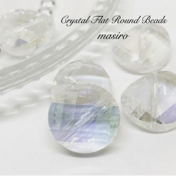 SALE Crystal Flat Round Beads 3pcs