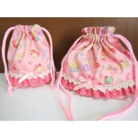 スイーツフリルのお弁当袋&コップ入れ☆ピンク☆