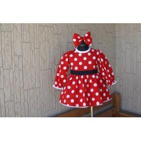 (80)赤 白ドットワンピース(長袖)