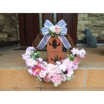 No. wreath-14533/★ギフト/花/玄関リース★/アートフラワー/桜のフラワーバスケット/40x38cm