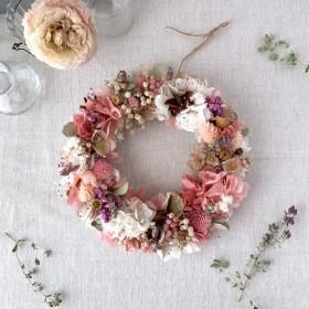 お花いっぱいのもこもこリース(ピンク&ホワイト)