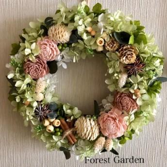 フラワーリース ソーラーローズと木の実のリース ナチュラルピンク