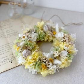 お花いっぱいのもこもこリース(イエロー)