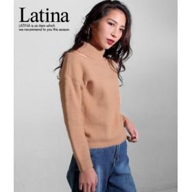 anap Latina(アナップラティーナ)/モヘアタッチデザインオープンニットトップス