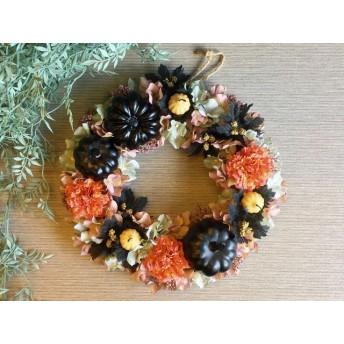 【大人ハロウィン】black Pumpkin wreath 32cm
