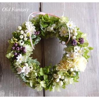 紫陽花とカーネーションのグリーンリース 20センチ#1