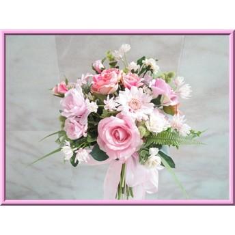 再販格安◆アートフラワー造花◆可愛いピンクカラー*ローズ&ガーベラのナチュラル クラッチ ブーケ 花束アレンジ
