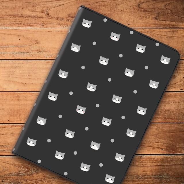 ドットキャット ハチワレ ブラック iPad ケース タブレット iPad android 多機種対応 ネコ ねこ cat480